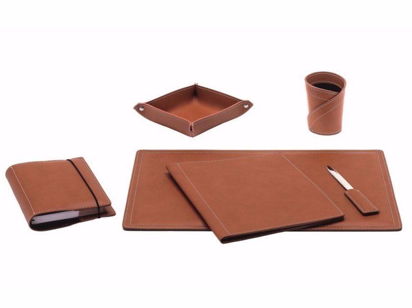 Bonded leather desk set ASCANIO 6 PZ by LIMAC design FIRESTYLE