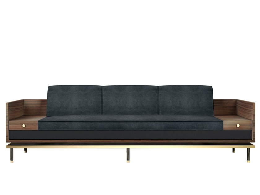 Leather sofa with storage space ASHEVILLE by Porustudio