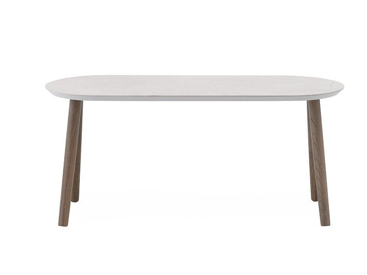 Oval coffee table with ceramic and MDF top ASHLEY | Oval coffee table by I.T.F. Design
