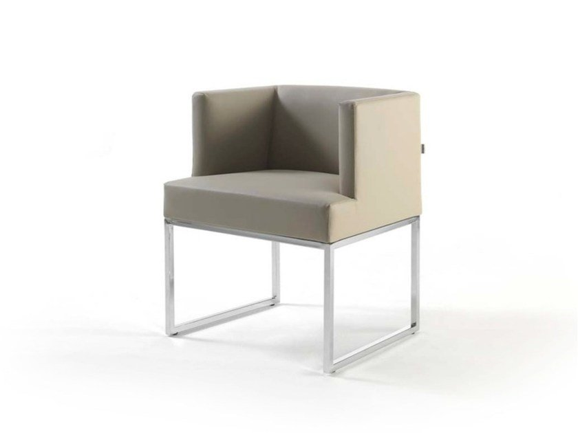 Sled base leather easy chair with armrests ASIA JUNIOR by Frigerio Salotti