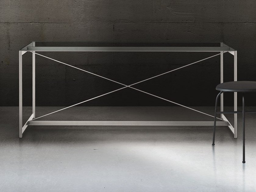 Rectangular crystal and steel table ASNAGO VENDER by Pallucco