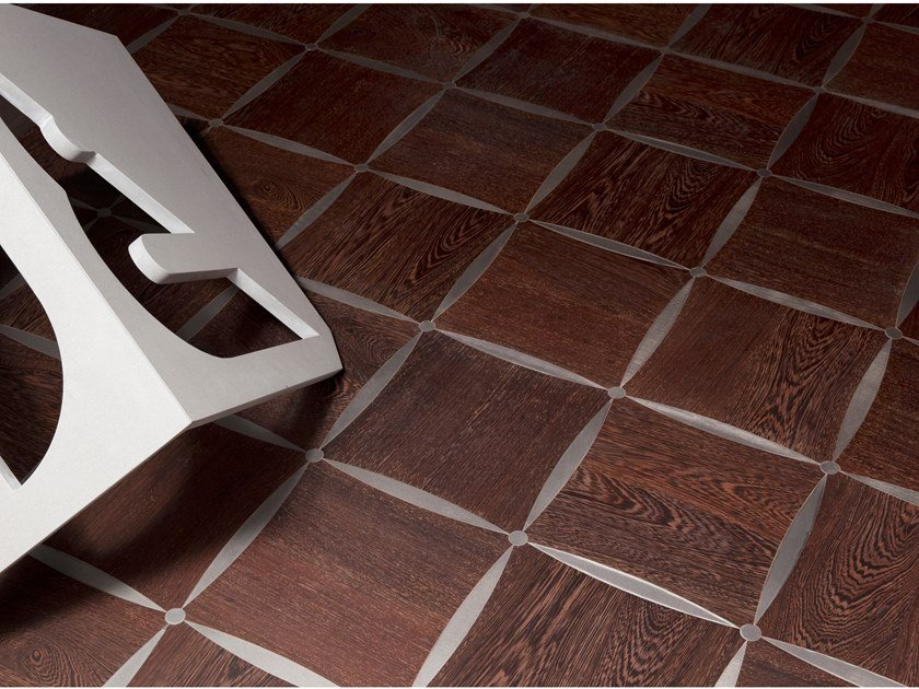 Steel and wenge wall/floor tiles ASOLE by Palazzo Morelli