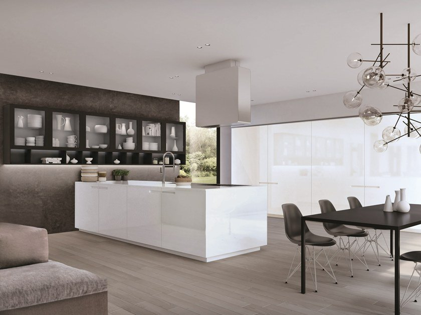 Lacquered fitted kitchen with peninsula ASSIM | Kitchen with peninsula by Euromobil