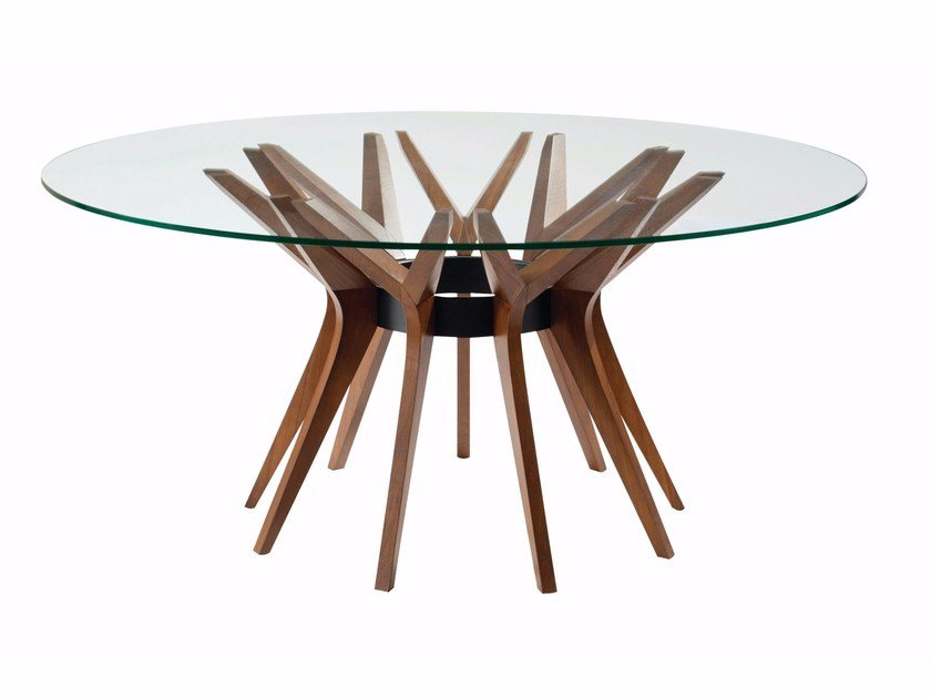 Round wood and glass table aster by roche bobois design - Table ovale marbre roche bobois ...