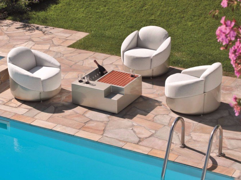 Dacron® armchair with removable cover ASTREA by Longhi