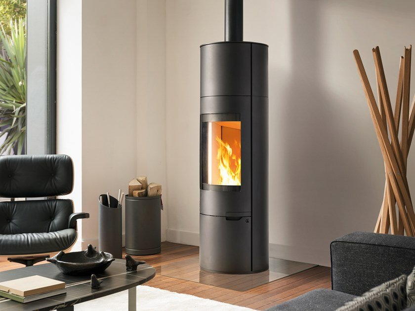 Wood-burning Central Class A steel stove ASTRELLE by CAMINETTI MONTEGRAPPA