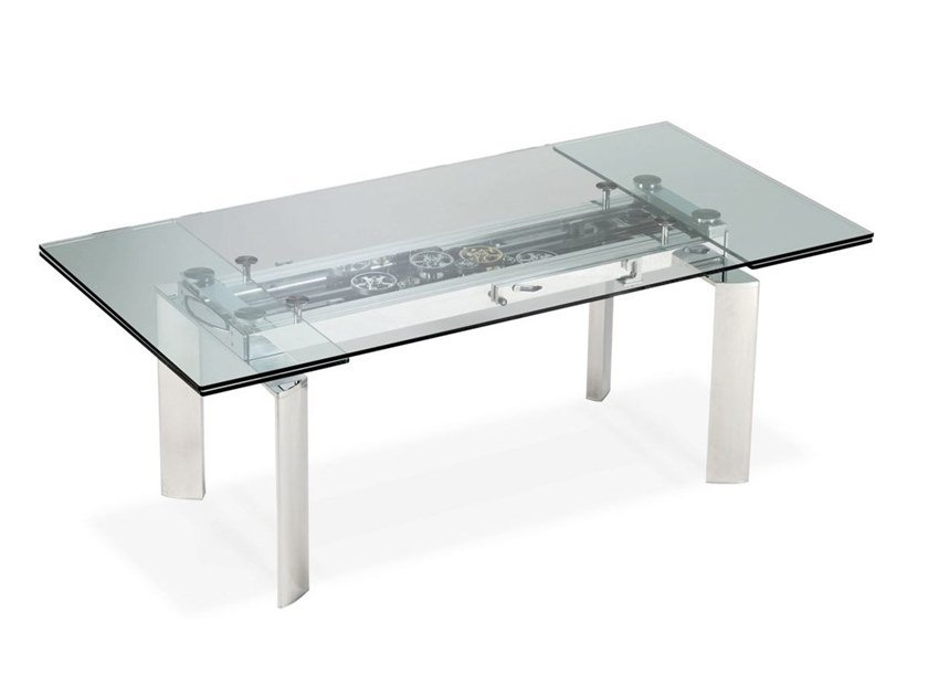 Extending glass and aluminium dining table ASTROLAB by ROCHE BOBOIS