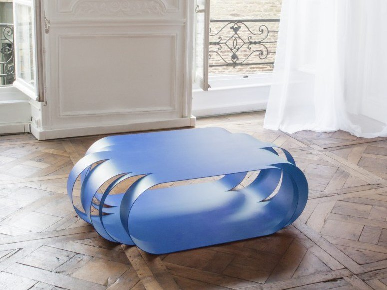 Low lacquered steel coffee table ASYMETRIC | Low coffee table by VIDAME CREATION