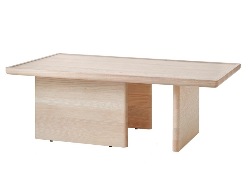 Rectangular solid wood side table ASYMMETRIC   Coffee table by BassamFellows