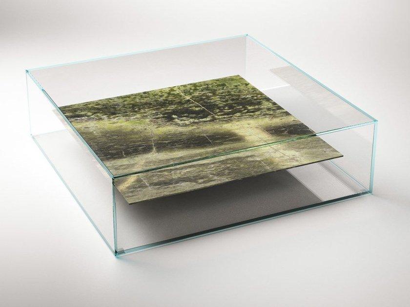 Square marble and glass coffee table AT SWIM - TWO - TABLES by CLASTE