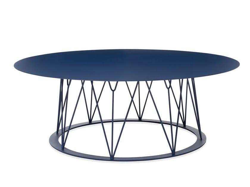 Mesa de centro baixa redonda de aço com pintura à pó ATAMAN MESH | Mesa de centro baixa by Garda Furniture