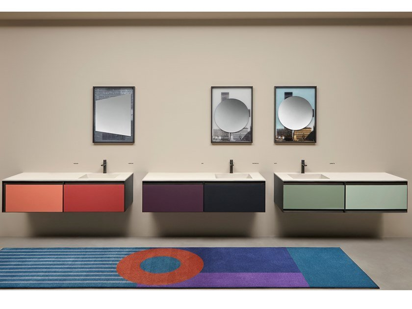Sectional lacquered wall-mounted vanity unit ATELIER COLORE by Antonio Lupi Design