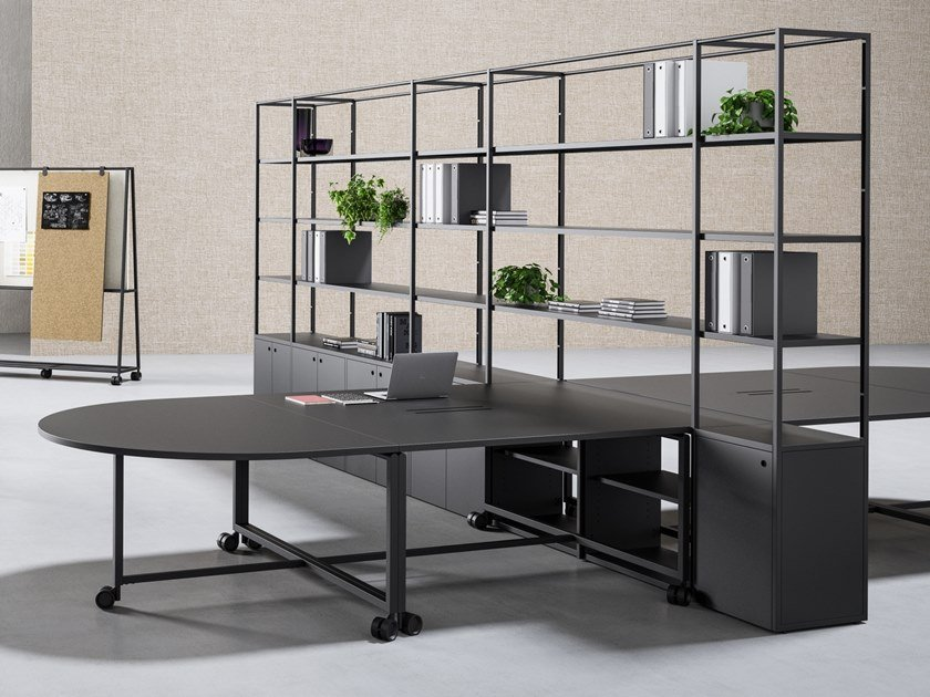 Sectional workstation desk with shelves ATELIER | Office desk with shelves by FANTONI