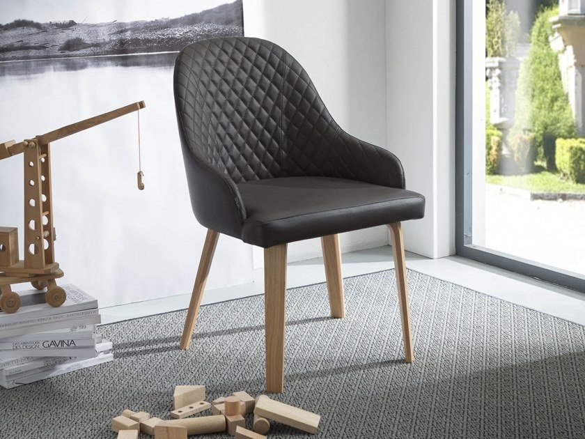Upholstered chair with armrests ATENA by Ozzio Italia