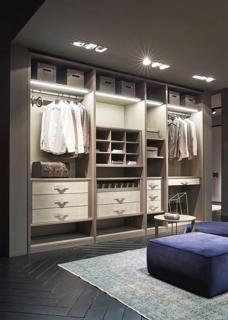 ATLANTE Cabina armadio Atlante in frassino tinto beige/grey con dettagli nabuk