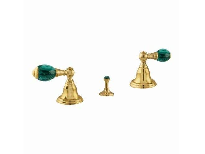 3 hole countertop brass bidet tap with individual rosettes ATLANTICA PRECIOUS | Bidet tap by Bronces Mestre