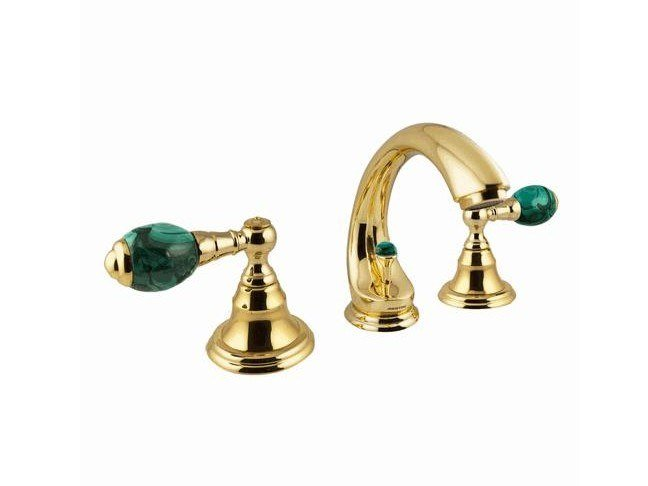 3 hole countertop brass washbasin tap with individual rosettes ATLANTICA PRECIOUS | Washbasin tap by Bronces Mestre