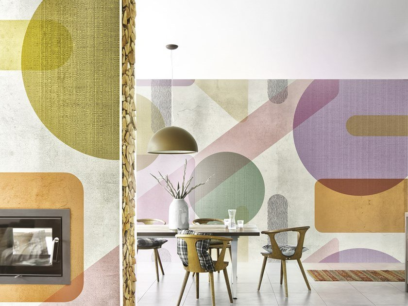 Geometric panoramic wallpaper ATMOSPHERA by Inkiostro Bianco