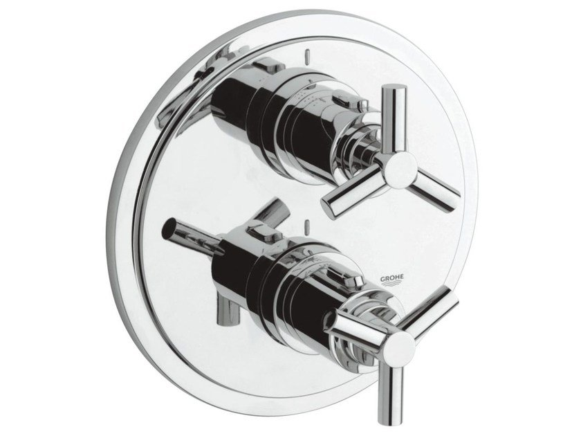 2 hole thermostatic shower / bathub mixer with plate ATRIO CLASSIC YPSILON | Thermostatic shower mixer by Grohe