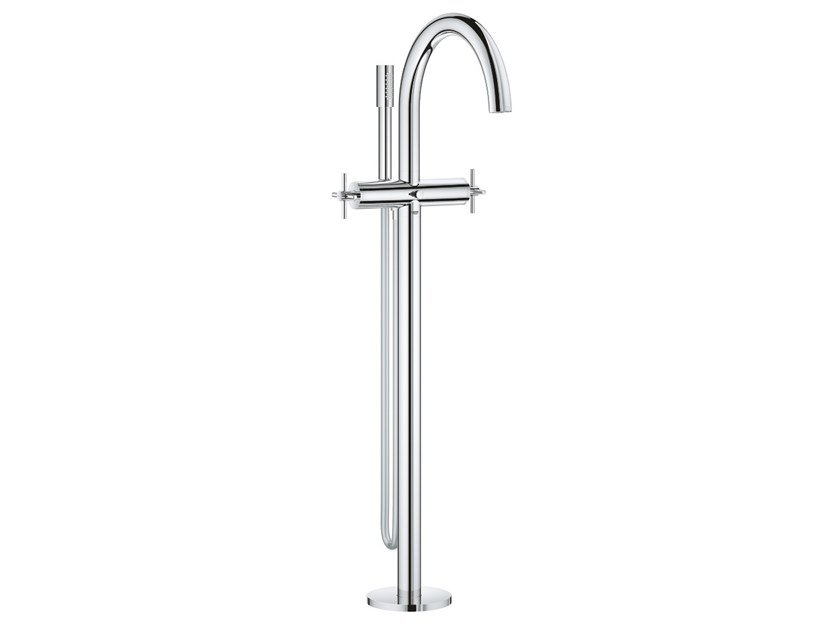 Floor standing bathtub tap with swivel spout with hand shower ATRIO NEW | Floor standing bathtub tap by Grohe