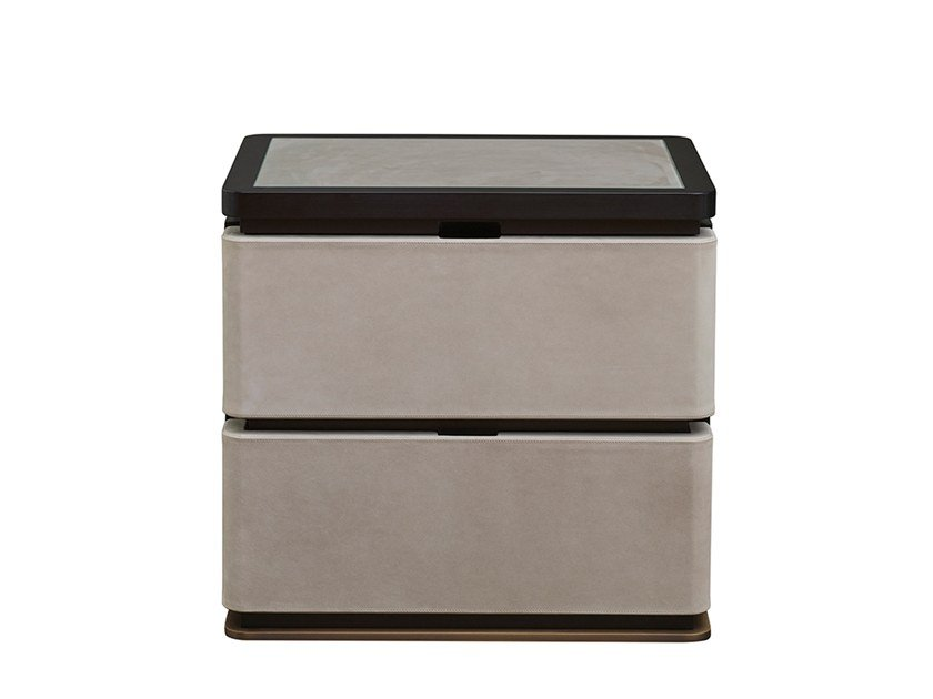 Rectangular wooden bedside table with drawers AU BOUT DE LA NUIT by Promemoria