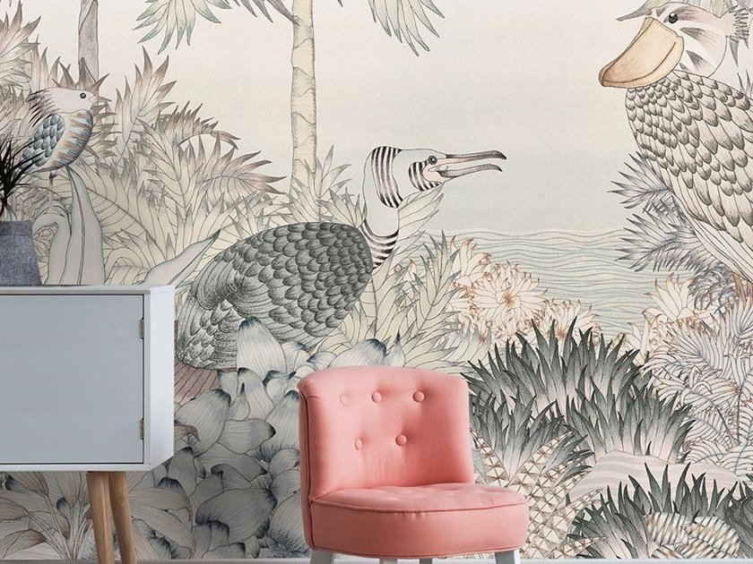 For all ages wallpaper, PVC free, eco, washable AU L DES FEUILLES by Wallpepper