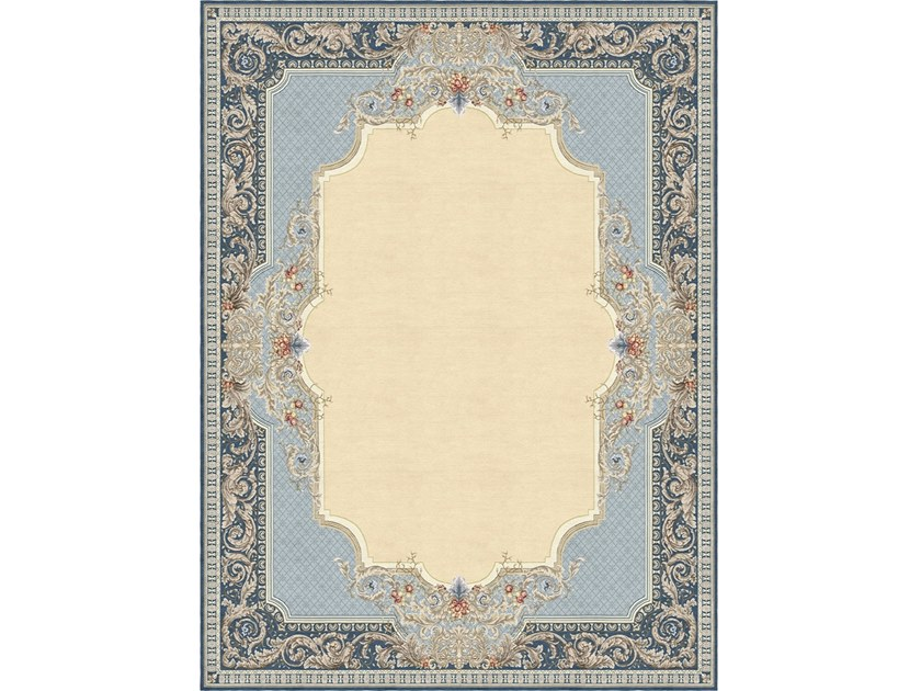 Handmade silk rug AUBUSSON TAPISSERIE FLORAL BLUE by Tapis Rouge