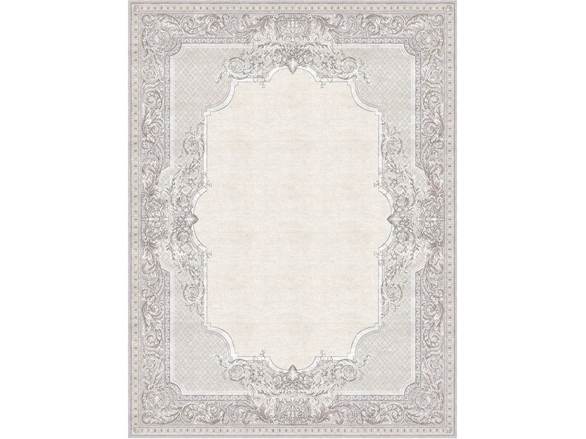 Handmade rectangular rug AUBUSSON TAPISSERIE FLORAL GREY by Tapis Rouge