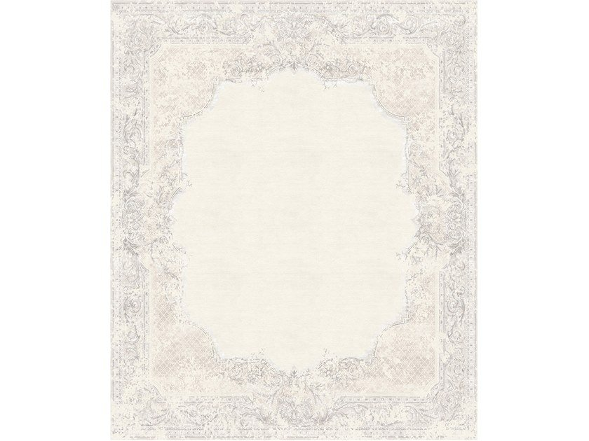 Handmade rectangular rug AUBUSSON VINTAGE DUSTY BEIGE by Tapis Rouge