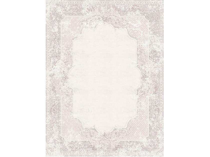 Handmade rectangular rug AUBUSSON VINTAGE DUSTY ROSE by Tapis Rouge