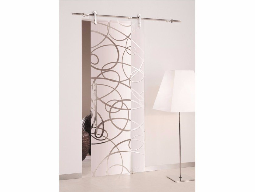 Sandblasted glass sliding door AURA | Sliding door by Casali