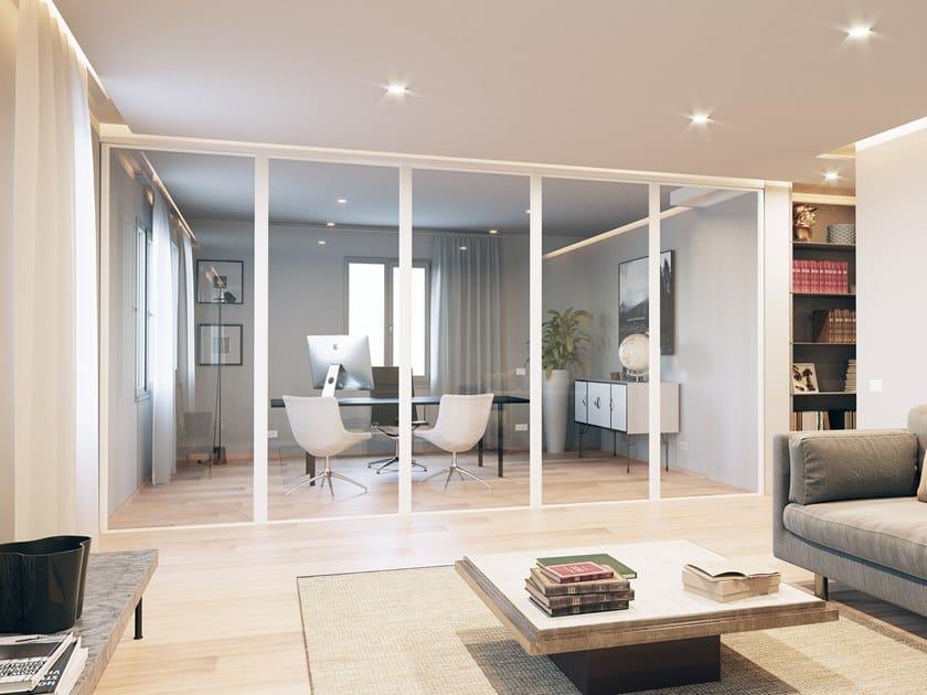 Folding sliding glass and aluminium movable wall AUREA by ANAUNIA