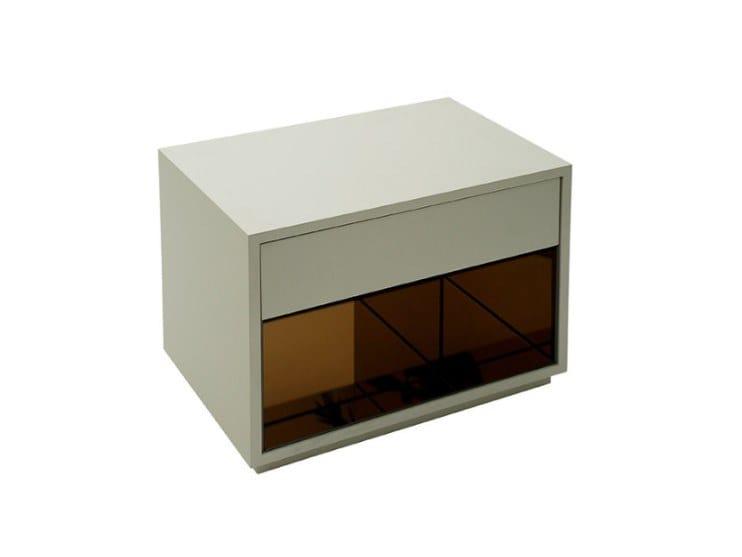 Rectangular wood veneer bedside table AUREA by Conceito Casa