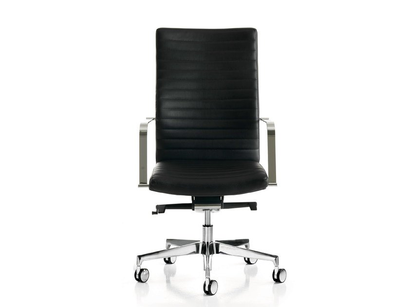 Leather executive chair with 5-spoke base with armrests with casters AURORA 2.0 | Executive chair with 5-spoke base by Quinti Sedute