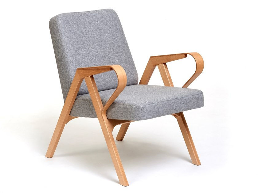 Upholstered armchair with bent wood armrests AURORA by Hunik Design