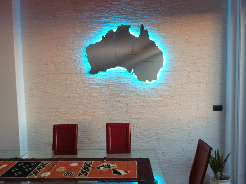Wall-mounted stainless steel clock AUSTRALIA by Carluccio Design