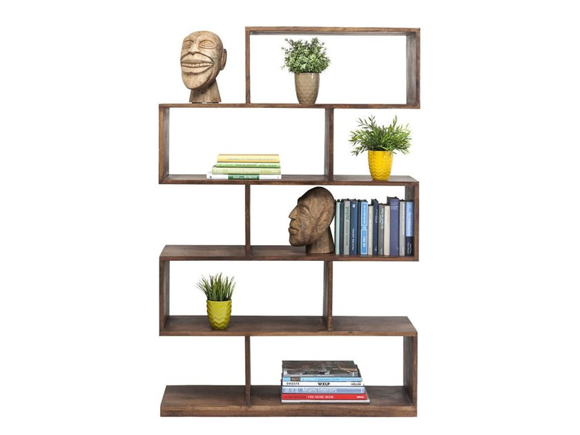 Open double-sided acacia bookcase AUTHENTICO ZICK ZACK 150 by KARE-DESIGN