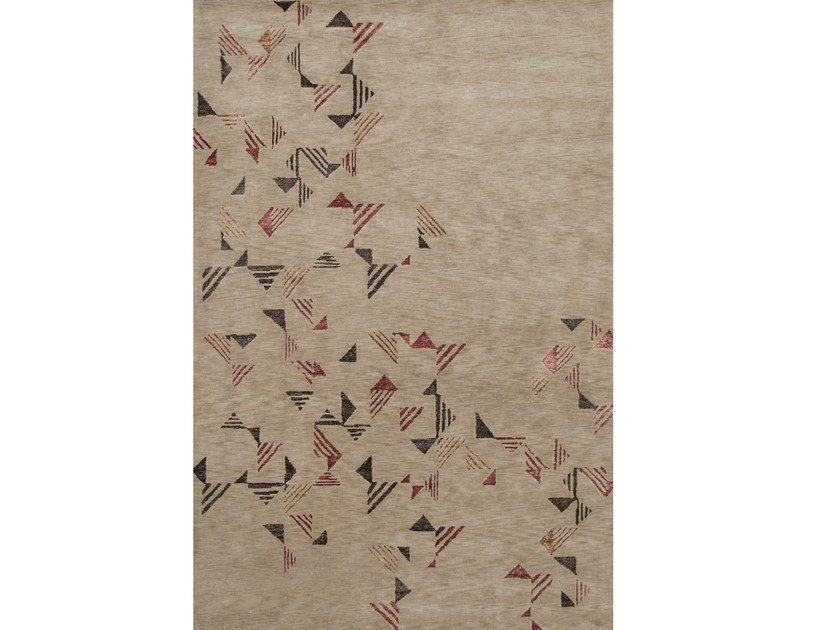 Handmade rectangular wool rug AUTUMN LEAVES by Sirecom Tappeti