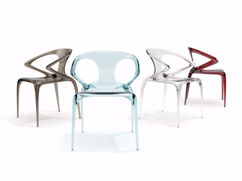 Stackable chair with armrests AVA by ROCHE BOBOIS