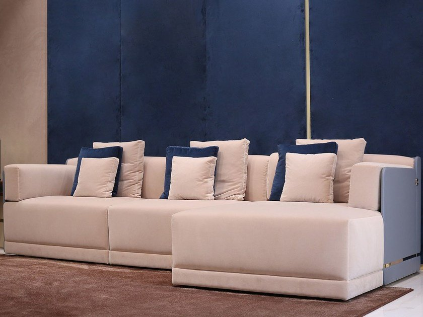 Leather sofa with chaise longue AVALON | Sofa by Turri