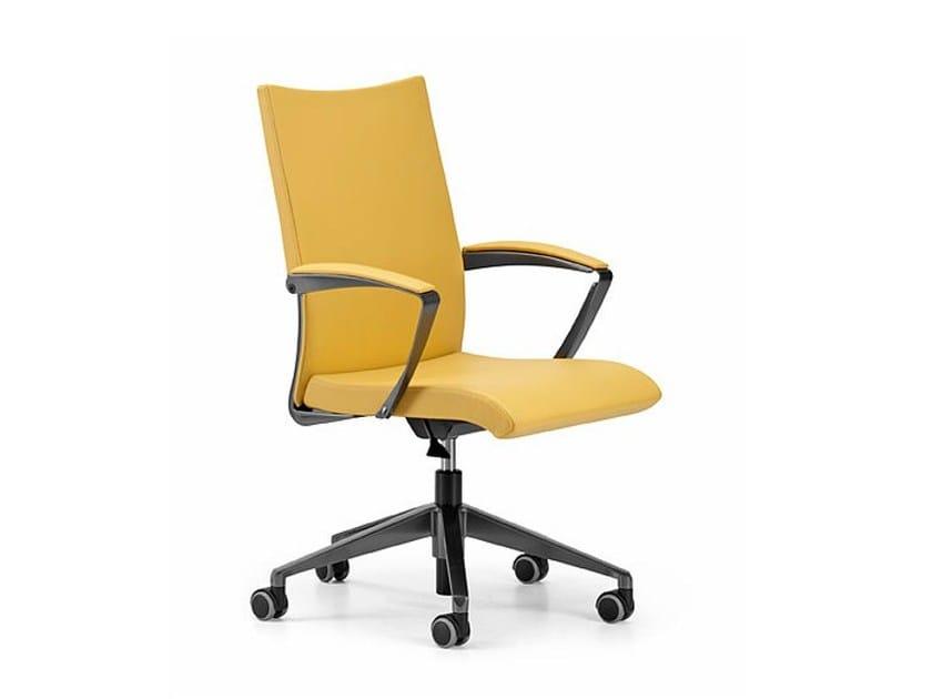 Sedia ufficio operativa in pelle a 5 razze con braccioli con ruote AVIA 4204 by TALIN