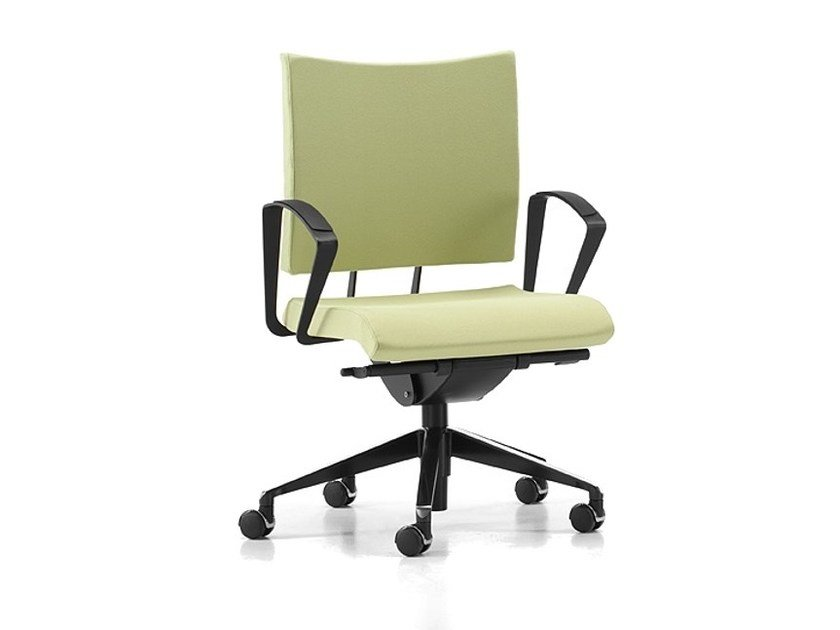 Fabric task chair with 5-Spoke base with armrests with casters AVIAMID 3404 by TALIN