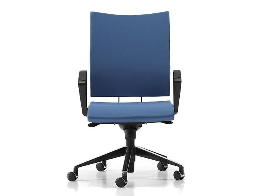 Fabric task chair with 5-Spoke base with armrests with casters AVIAMID 3414 by TALIN