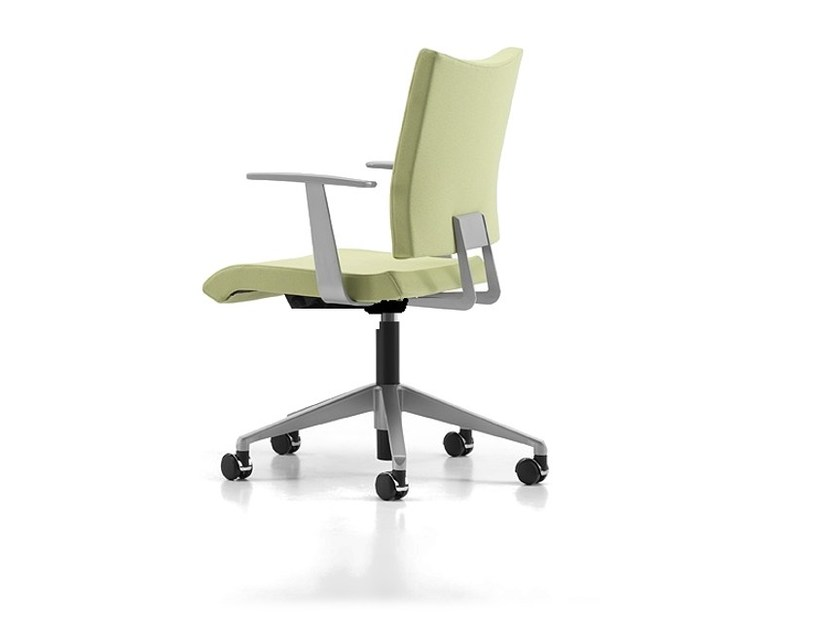 Fabric task chair with 5-Spoke base with armrests with casters AVIAMID 3442 by TALIN