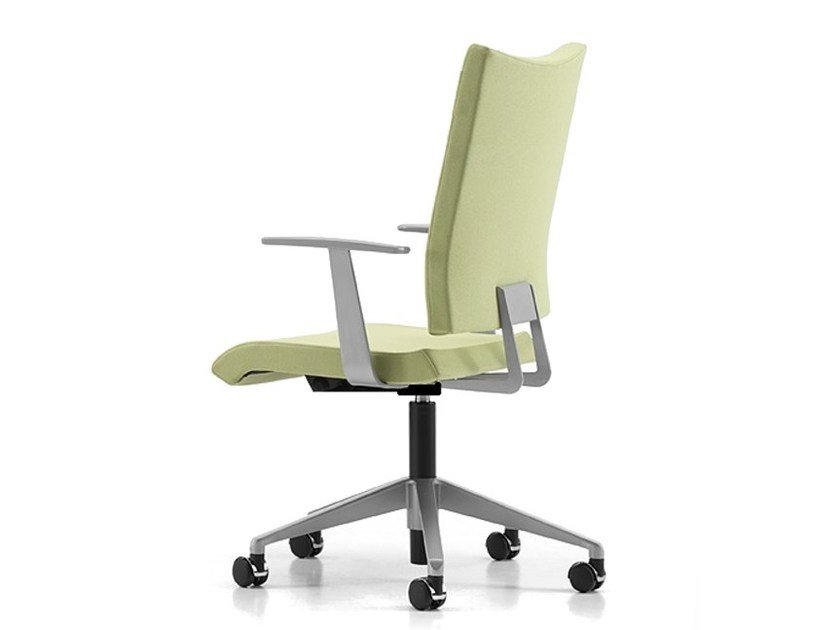 Fabric task chair with 5-Spoke base with armrests with casters AVIAMID 3452 by TALIN