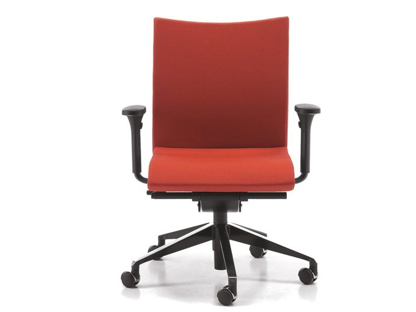 Fabric task chair with 5-Spoke base with armrests with castors AVIAMID 3506 by TALIN