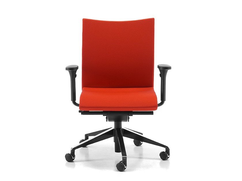 Fabric task chair with 5-Spoke base with armrests with casters AVIAMID 3516 by TALIN