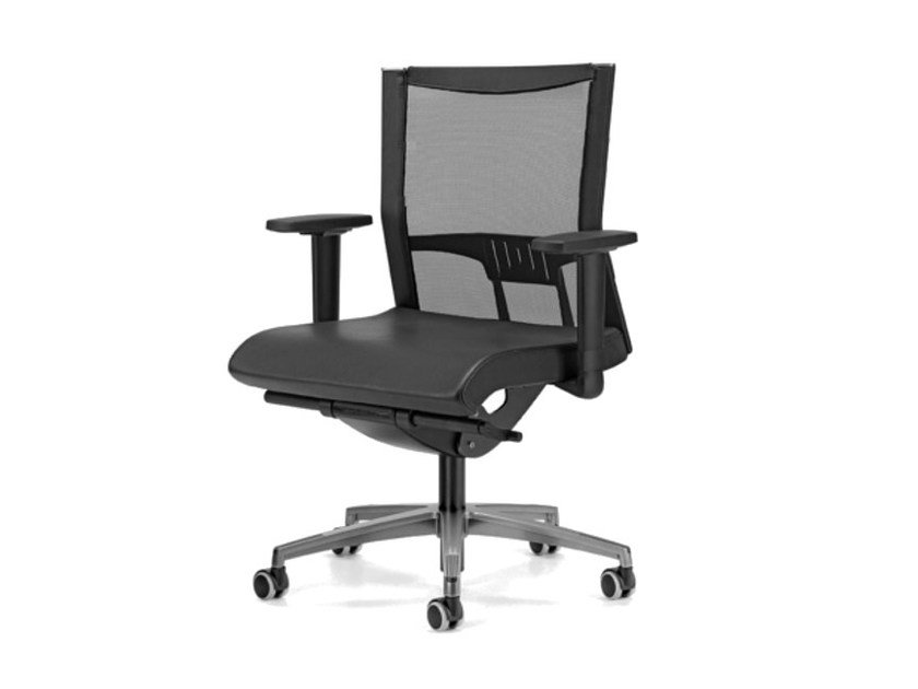 Mesh task chair with 5-Spoke base with armrests with casters AVIANET 3606 by TALIN