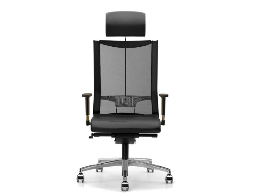 Mesh task chair with 5-Spoke base with armrests with casters AVIANET 3626 by TALIN