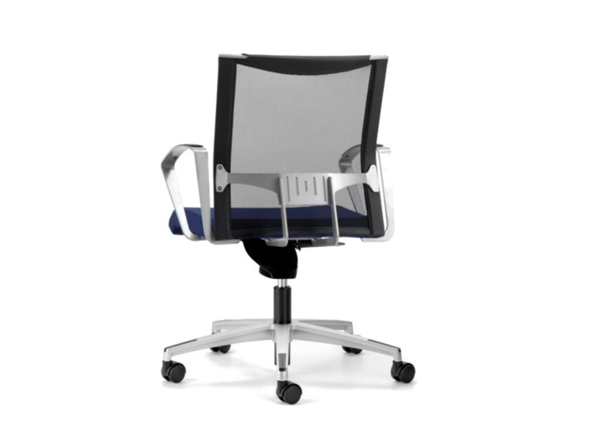 Mesh task chair with 5-Spoke base with armrests with castors AVIANET 3654 by TALIN